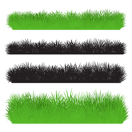 Green and black grass borders set. Set of silhouette of grass isolated on white background. Vector illustration Illustration