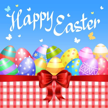 Colorful Easter eggs border with red bow for Easter holidays design. Vector illustration