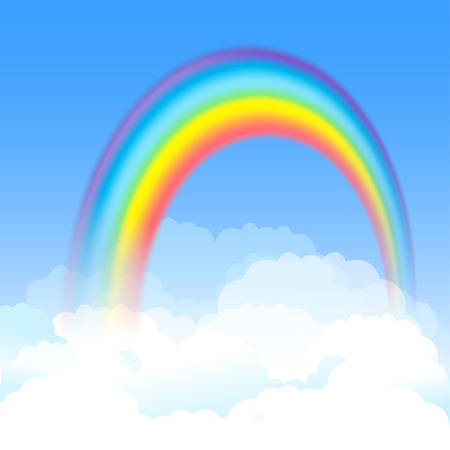 Bright arched rainbow with blue sky and white clouds. Vector illustration