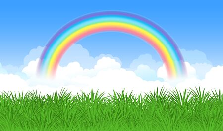 arched: Bright arched rainbow with blue sky, clouds and green grass. Vector illustration
