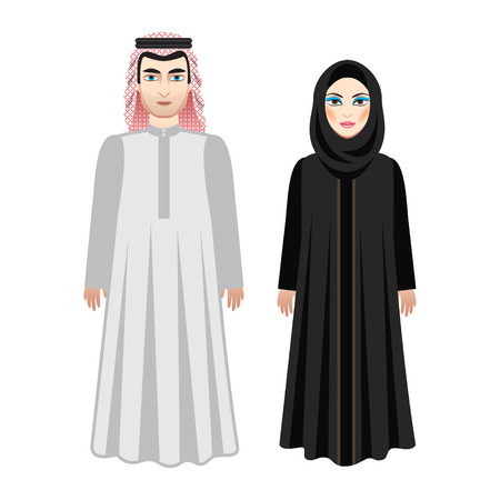 アラビア人、Saydi カップル。男性と女性の伝統的な衣装で。ベクトル図