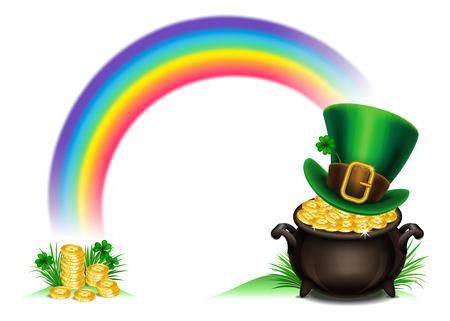 St.Patricks Day symbols-Pot Of Gold and leprechaun hat. St.Patricks Day background, Magical Treasure. Vector illustration Illustration