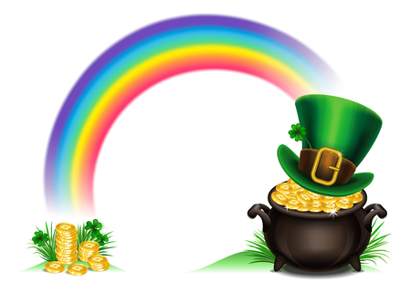 St.Patricks Day symbols-Pot Of Gold and leprechaun hat. St.Patricks Day background, Magical Treasure. Vector illustration Illustration