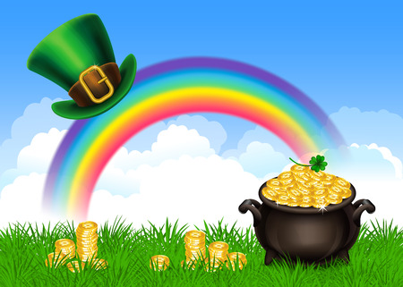 boiler: St.Patricks Day symbols-Pot Of Gold and leprechaun hat. St.Patricks Day background, Magical Treasure. Vector illustration Illustration