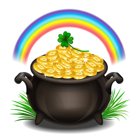 ポット ・ オブ ・ ゴールド、魔法の宝物が、聖パトリックの日のシンボルと聖パトリックの日の背景。ベクトル図