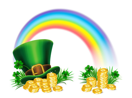 St. Patricks Day green leprechaun hat with clover, gold coins and rainbow, St.Patricks Day symbol. St.Patricks Day background. Vector illustration