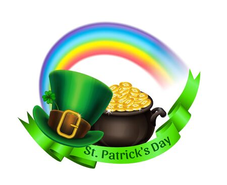 St.Patrick's Day logo. Pot Of Gold, rainbow and green leprechaun hat with ribbon. Vector illustration.