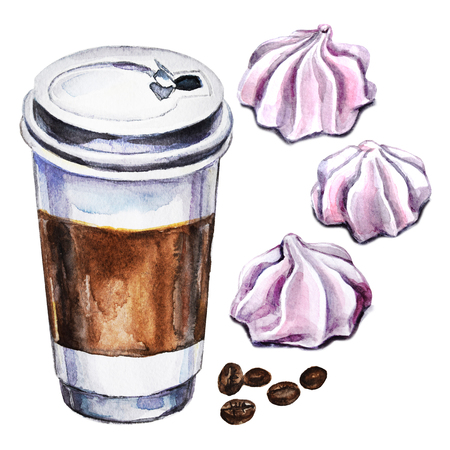 Watercolor set with disposable cup of coffee, meringues and coffee beans. Hand painted illustration