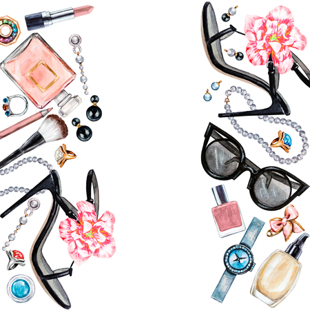 Frame of various watercolor female accessories. Makeup products, high heel shoes, perfumes, lipstick, earrings, rings, beads, nail polish, watch, sunglasses. Hand drawn accessories
