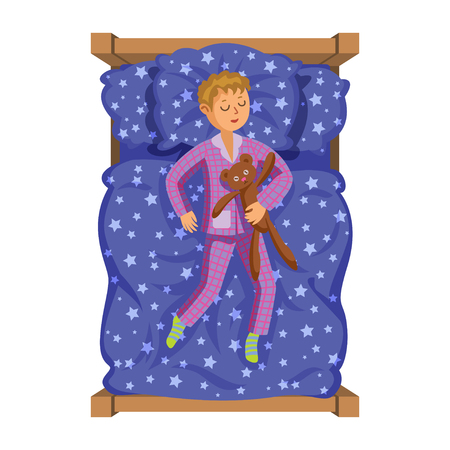 Cartoon smile little boy sleeping in the bed with teddy bear. Sweet dreams. Kids activity. Vector Illustration