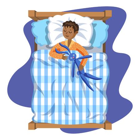 duvet: Sleeping brunette baby boy with toy bunny. Bedtime. Cartoon character boy. Kid sleep bedtime in his bed. Vector Illustration