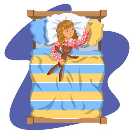 duvet: Girl sleep bedtime in his bedroom bed with teddy bear. Cartoon sleeping baby. Good night time. Bedtime. Vector Illustration Illustration