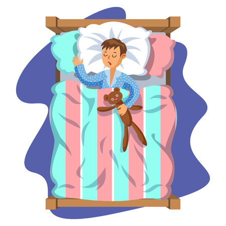 Little boy sleeping in her bed with teddy bear. Kids activity. Good night time. Vector Illustration. Modern flat style cartoon clipart
