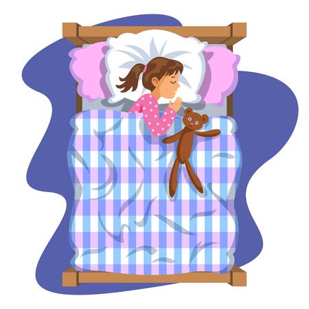 duvet: Sleeping brunette baby girl. Bedtime. Cartoon character girl. Kid sleep bedtime in his bed with teddy bear. Vector Illustration