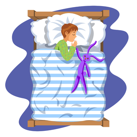 Boy sleep bedtime in his bedroom bed with toy bunny. Cartoon sleeping baby. Good night time. Bedtime. Vector Illustration Illustration