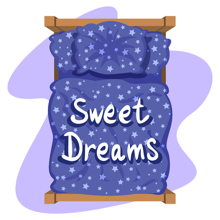 duvet: Bed with blue linen, top view. Blue bedclothes with stars, blanket and pillow. Vector illustration