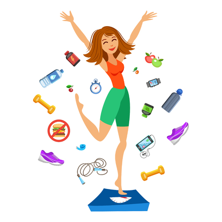Sporty young woman jumping on the scales. Happy fit girl. Smiling cartoon girl with fitness kit elements.