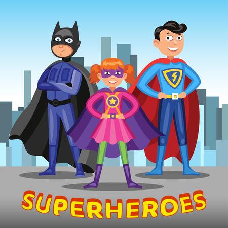 3 つの漫画のスーパー ヒーロー。男の子および都市の背景にカラフルなスーパー ヒーローの衣装の女の子。ベクトル図  イラスト・ベクター素材