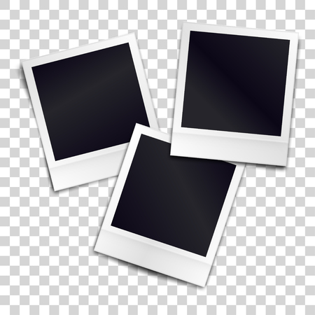 Three photorealistic blank retro photo frames over transparent background.
