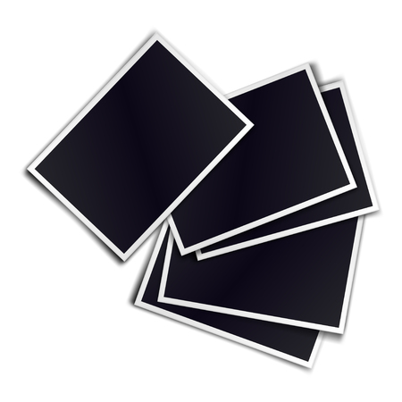 Composition of five blank realistic black photo frames on white background. Mockups for design.
