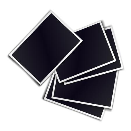 Composition of five blank realistic black photo frames on white background. Mockups for design.