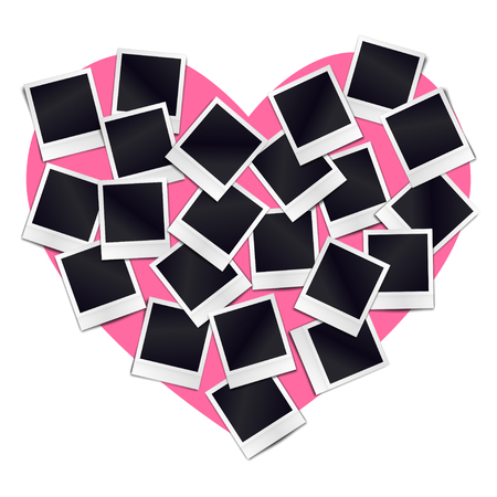 Composition of many blank realistic vintage photo frames on pink heart background. Mockups for romantic design. 向量圖像