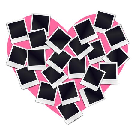 Composizione di molti telaio vuoto realistico di foto vintage su sfondo cuore rosa. Mockups per il design romantico. Vettoriali