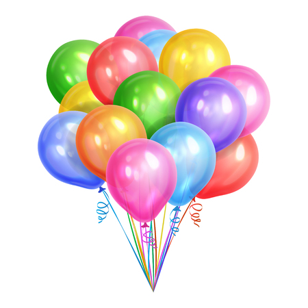 Bunch of realistic colorful helium balloons isolated on white background. Party decorations for birthday, anniversary, celebration. Vector illustration Vettoriali