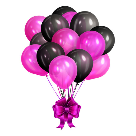Bunch of realistic black and pink helium balloons isolated on white background. Party decorations for birthday, anniversary, celebration. Vector illustration