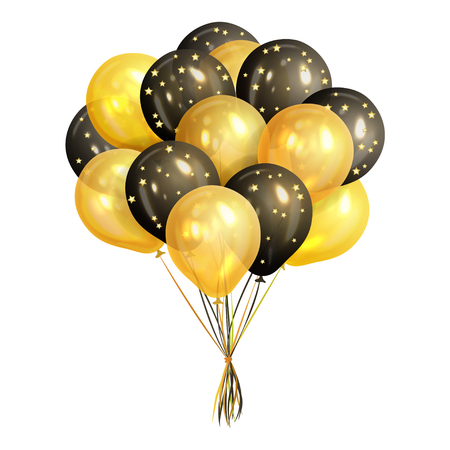 Bunch of realistic black and gold helium balloons isolated on white background. Party decorations for birthday, anniversary, celebration. Vector illustration