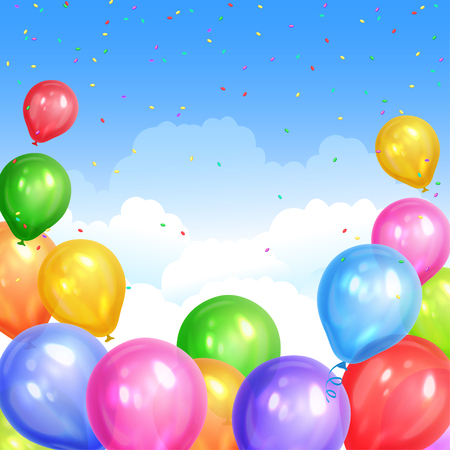 Border of realistic colorful helium balloons isolated on sky background. Party decoration frame for birthday, anniversary, celebration. Vector illustration
