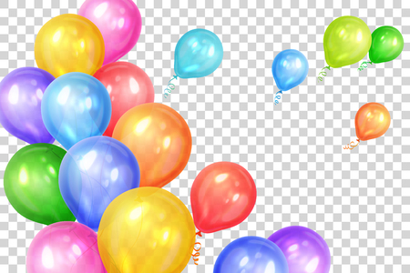 Bunch of colorful helium balloons isolated on transparent background. Party decorations for birthday, anniversary, celebration. Vector illustration