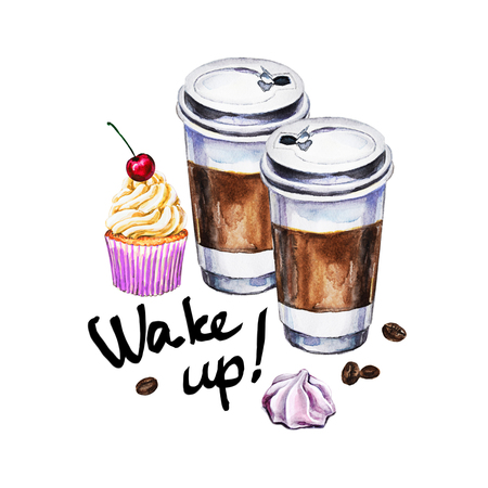 Watercolor illustration with disposable cups of coffee, cupcake, meringue and coffee beans. Hand painted illustration Stock Photo