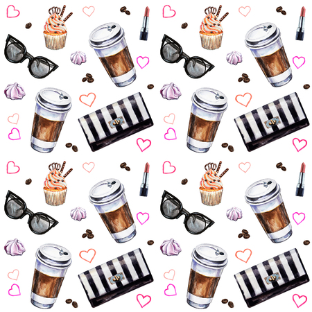 Watercolor seamless pattern with disposables cups of coffee, cupcakes, meringues, clutch, sunglasses, lipstick and coffee beans. Hand painted illustration