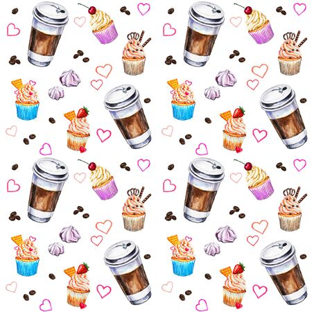 Watercolor seamless pattern with disposables cups of coffee, cupcakes, meringues and coffee beans. Hand painted illustration