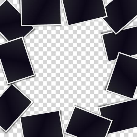 Border of realistic black photo frames on transparent background. Template for design. Vector illustration