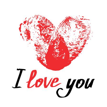 Rood thumbprinthart en met de hand geschreven uitdrukking ik houd van u. Romantische kaart voor Valentijnsdag of bruiloft. Vingerafdrukhart op wit wordt geïsoleerd dat. Vector illustratie Stock Illustratie