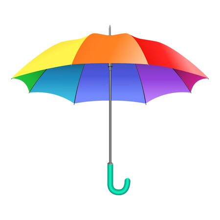 sunshade: Colored realistic umbrella. Open umbrella in rainbow colors isolated on white background. Vector illustration