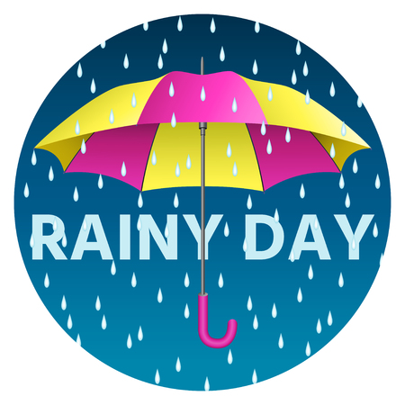 nylon: Yellow and pink realistic umbrella. Open umbrella with rain drops and text rainy day. Vector illustration Illustration