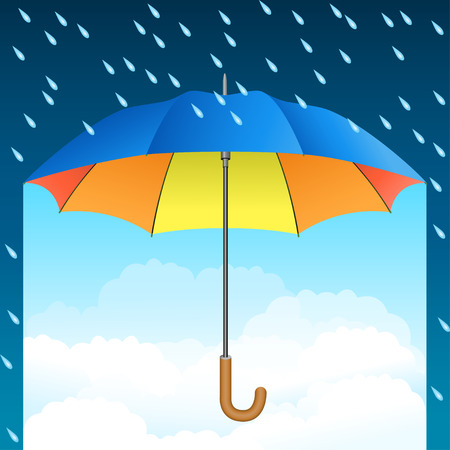Colored realistic umbrella. Open umbrella on rain and blue sky background. Vector illustration Illustration