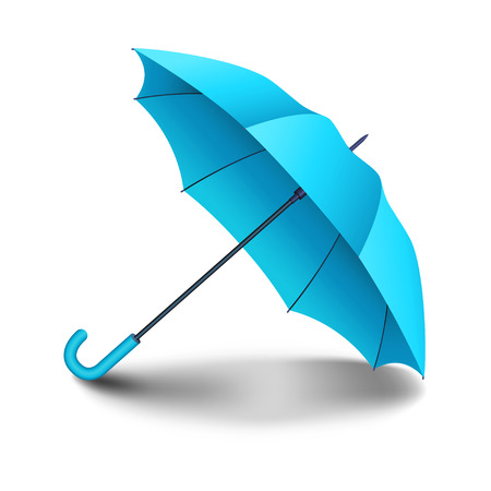 nylon: Blue realistic umbrella. Classic elegant open umbrella with shadow isolated on white background. Vector illustration Illustration