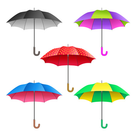 Set of colored realistic open umbrellas. Umbrellas collection isolated on white background. Vector illustration Illustration
