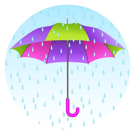 Colored realistic umbrella. Open umbrella with rain drops on blue sky background. Vector illustration