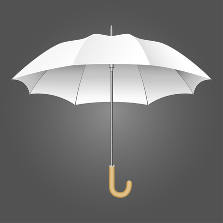White open umbrella isolated on dark background. Light gray realistic umbrella. Vector illustration