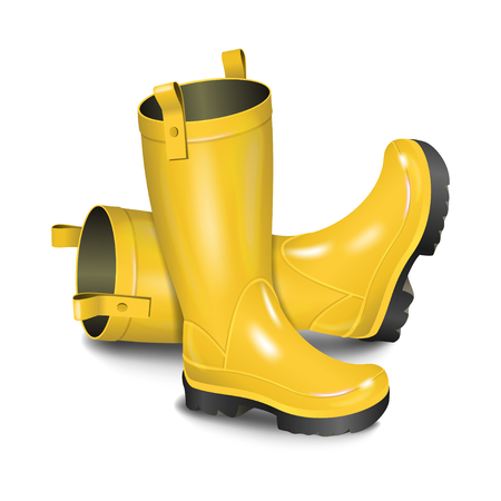 Pair of gumboots. Rain yellow boots isolated on white background. Realistic vector illustration Illustration