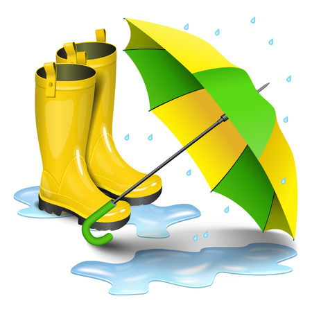 gumboots: Gumboots and open umbrella. Rain yellow boots in puddles, green and yellow umbrella isolated on white background. Realistic vector illustration