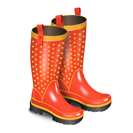 gumboots: Pair of gumboots. Rain red boots with dots isolated on white background. Realistic vector illustration