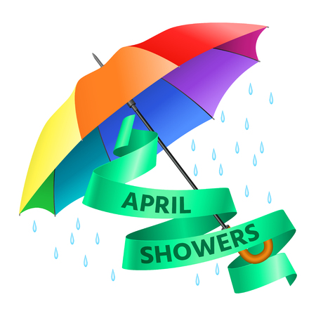 Colored realistic umbrella. Open umbrella in rainbow colors and text april showers on green ribbon. Vector illustration