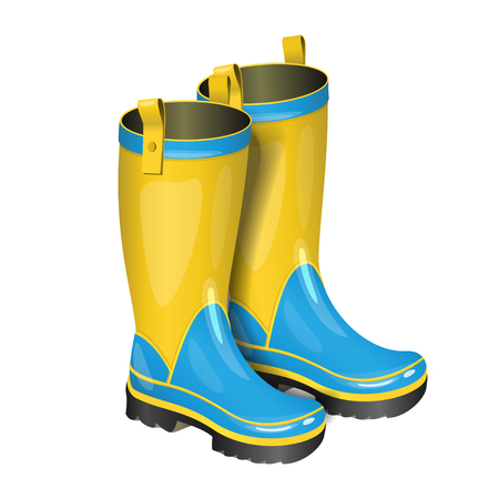 Pair of gumboots. Rain yellow and blue boots isolated on white background. Realistic vector illustration.