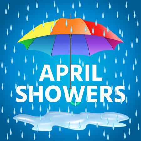 Colored realistic umbrella. Open umbrella in rainbow colors and text april showers with rain drops. Vector illustration